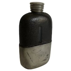 Vintage Whiskey Flask Leather, Glass and Silver Plate