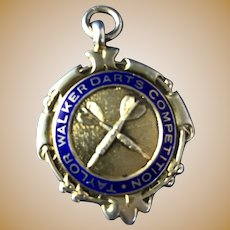 English Sterling Silver with Blue Enamel Fob, 1946