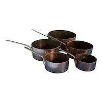 Vintage Set of 5 Copper Measuring Cups