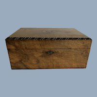 19th Century English Burr Walnut Sewing Work Box