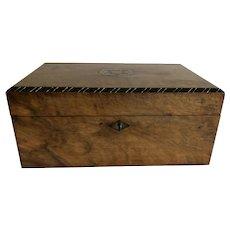19th Century English Burr Walnut Sewing Work Box