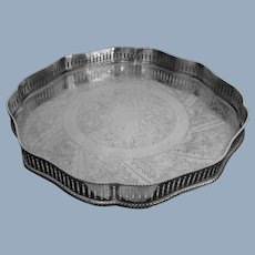 English Silver Plated on Copper Gallery Tray