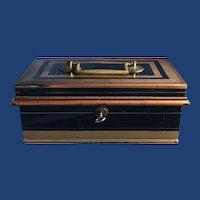 Antique English Black & Gold Trim Toleware Cash Box and Tray