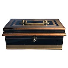 Antique English Black & Gold Trim Toleware Cash Box and Tray