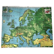 Weber Costello Political Physical Map of Europe 1937, 41 x 49 inches