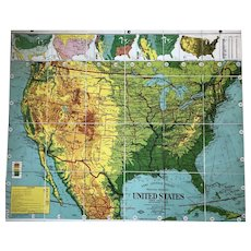 Weber Costello Semi-Contour Political Physical Map of United States, 41 x 49 inches
