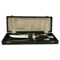 Stag/Antler 3-Piece Carving Set With Case, Cooper Brothers, Sheffield