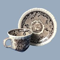 Mason's Vista Brown and White Transfer Cup and Saucer. C.1950