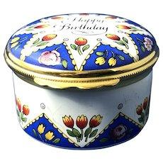 English Halcyon Days Enamel Happy Birthday Trinket Box