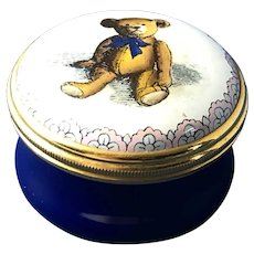 English Halcyon Days Bilston & Battersea Enamel 1903 Original Teddy Bear Trinket Box