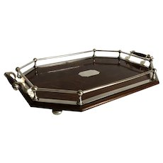 English Oak and Silver Plate Gallery Tray