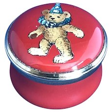 Halcyon Days Enamel Teddy Bear Dressed for a Party