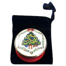Halcyon Days Enamel Christmas Tree Trinket Box