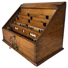 Victorian Oak Tambour Front Desk Top Stationary Cabinet