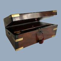 English Victorian Mahogany and Brass Writing Slope
