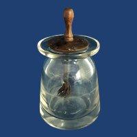 C. 1880 English Glass Paste Pot for School