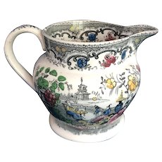 English Small Transfer Ware Milk Pitcher. C1880