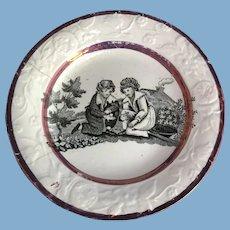 Small English Transfer Ware Children's Dish