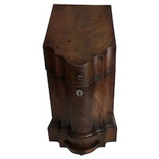 Antique English Victorian Mahogany Knife Box Converted to a Four Bottle Wine Cellar