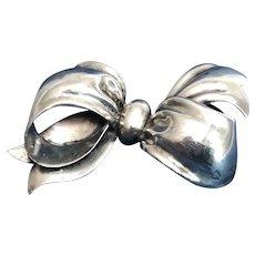 Sterling Silver Bow Brooch