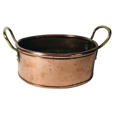 C. 1900 English Oval Brass and Copper Pot
