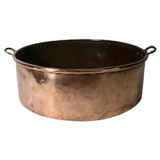 Early 1900s Round Brass and Copper Cooking Pot