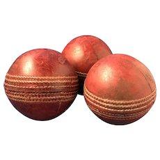 3 Vintage Leather Stitched Cricket Balls