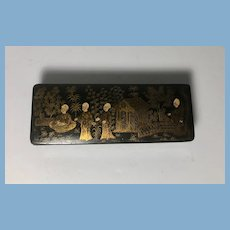 English Black Lacquer Box with Asian Theme