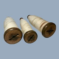 English Vintage Textile Mill Wooden Thread Spools