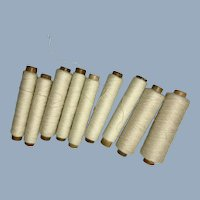 English Vintage Wooden Spools with White Thread