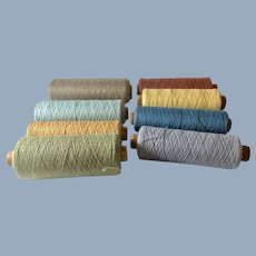 English Vintage Wooden Spools of Different Colors of Thread