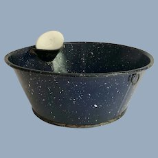 Vintage Cobalt Blue Speckle Graniteware Washing Pan