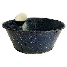 Vintage Cobalt Blue Speckle Graniteware Washing Pan