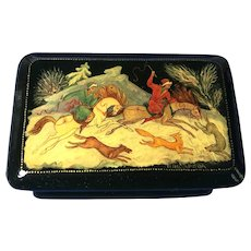 Russian Lacquer Box, Hand Painted and Signed by the Artist