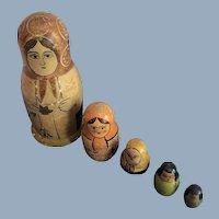 Russian Hand-Painted Matryoshka Nesting Stacking Dolls