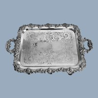 English Rococo Revival Superior Quality Silver Plate on Copper Large Serving Tray with Handles