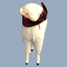 Wood and Woolen Covered Sheep Figurine