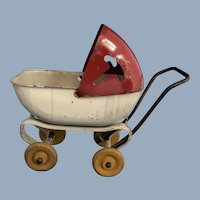 Vintage Toy Metal Doll Stroller, C.1930-1940