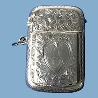English Sterling Silver Vesta Box   1900