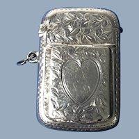 English Sterling Silver Vesta Box   1900