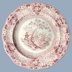 Red and White Transfer Ware Chinese Pastime Plates, 1820.