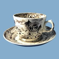 Victorian Brown and White Junior Tea Cup and Saucer