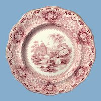English Red and White Chinese Pastime Transfer Ware Plate C.1820