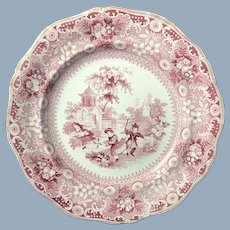English Red and White Chinese Pastimes Transfer Ware Plate  by Davenport  1820