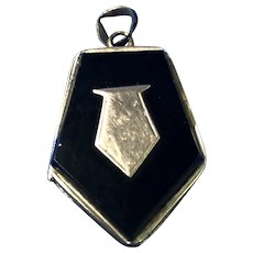 English Locket with Onyx and Gold Wash