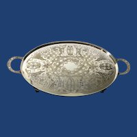 English Silver Plated Serving Tray.  C.1950