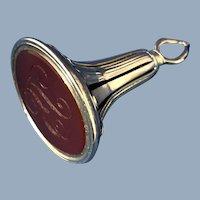 English Victorian 12k Gold Carnelian Watch Fob,  1880