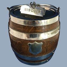 English Oak and Silver Plate Biscuit Barrel
