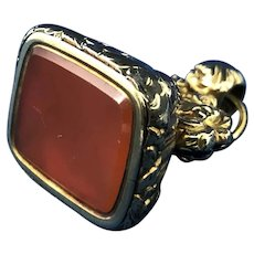 English 12k Gold Carnelian Watch Fob. C.1860