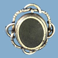 English Victorian 9k Gold Swivel Woven Brooch